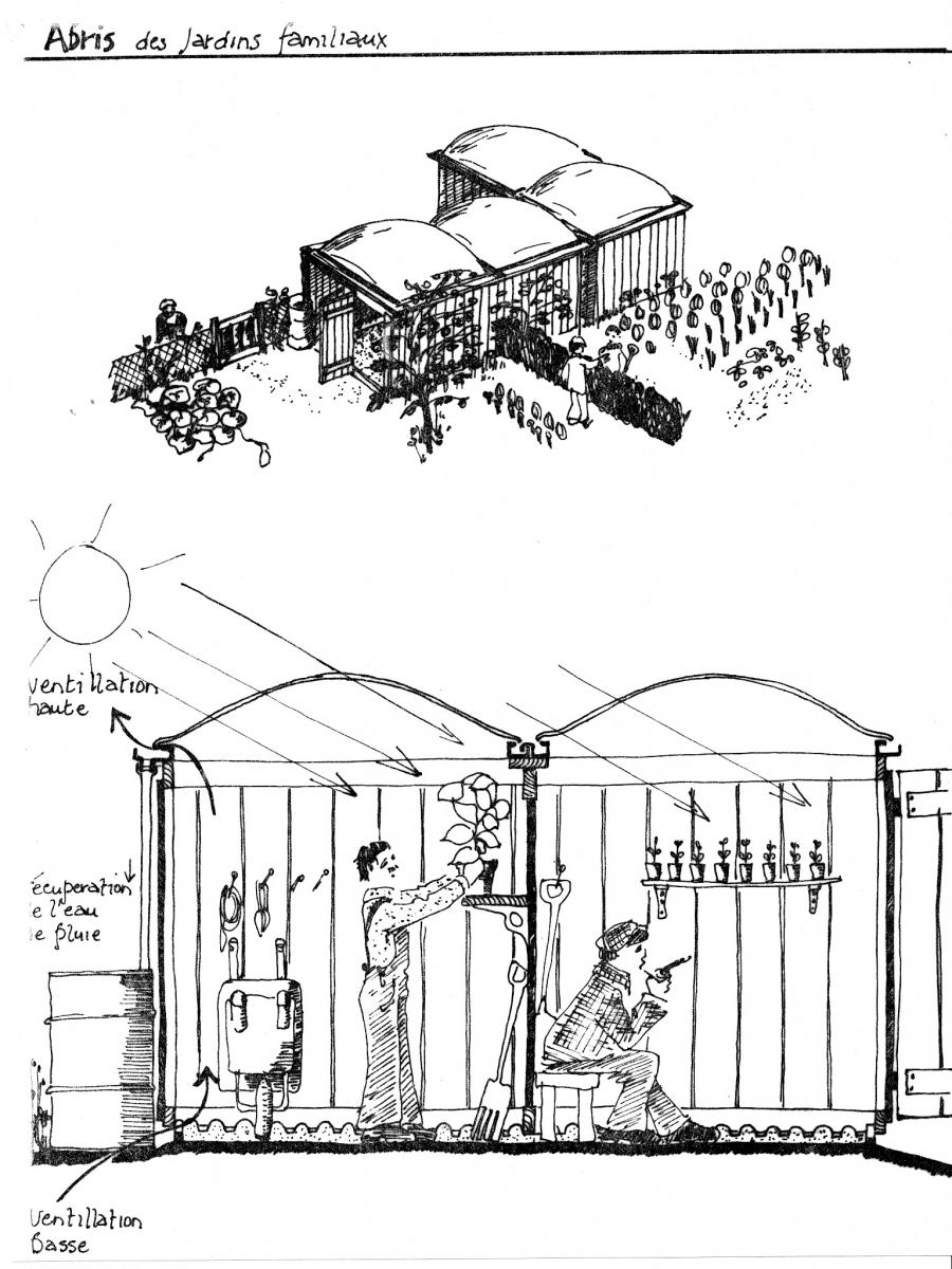 le croquis des abris de jardin par David Roditi, 1976